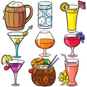 Drinks, cocktails icon set — Vector de stock