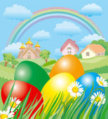Easter landscape — Stock Vector