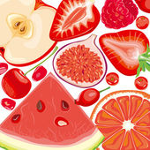 Mix red fruits and berries — Stock Vector