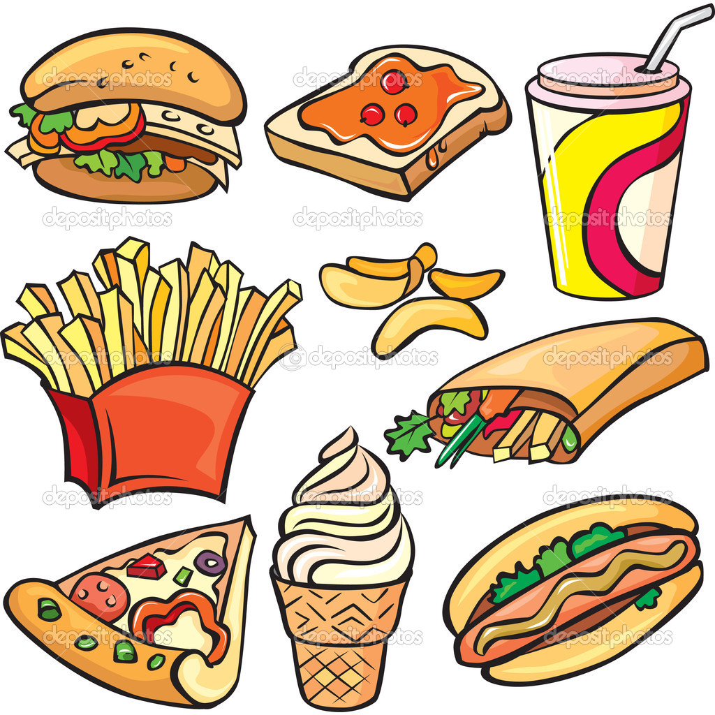 Fast Food Icon Vector Fast Food Icon Set on White