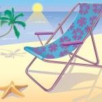 Sunbed on the beach — Stock Vector