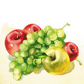 Watercolor painting on white background — Stock Photo