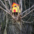 Birdhouse-red-yellow — Stock Photo