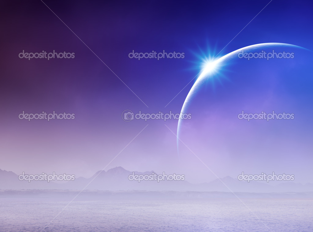 Surreal Solar Eclipse over misty seascape — Stock Photo #9589867