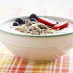 Bowl of muesli, yoghurt and berries — Stock Photo