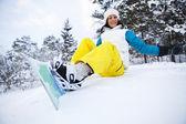 Kobieta zima snowboard — Zdjęcie stockowe