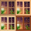 Vector set of Christmas windows — Stock vektor #8103331