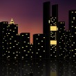 Vector silhouette of night city - Stock Vector