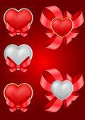 Vector set of decorative Saint Valentine's hearts — Stock Vector