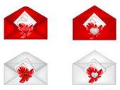 Vector set of decorative Saint Valentine's envelopes with hearts — Stockvector