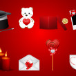 Vector set of subjects dedicated to the Saint Valentine's Day — Stock Vector