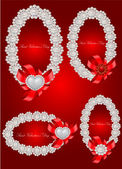 Vector set of valentine decorative frames — Vector de stock