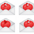 Vector set of decorative Saint Valentine's envelopes with hearts — Stock Vector