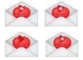 Vector set of decorative Saint Valentine's envelopes with hearts — Vecteur