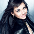 Smiling long black hair girl with blue eyes — Стоковая фотография