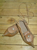 Vintage natural leather slippers — Stock Photo