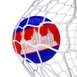 Cambodian soccer ball inside the net — Stock Photo