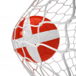 Denmark soccer ball inside the net — Stock Photo
