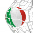 Italian soccer ball inside the net — Stock Photo