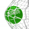 Saudi Arabian soccer ball inside the net — Stock Photo