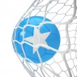 Somali soccer ball inside the net — Stock Photo