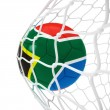 South African soccer ball inside the net — Stock Photo