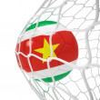 Surinamese soccer ball inside the net - Stock Photo
