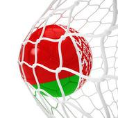 Belorussian soccer ball inside the net — Stock Photo