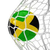 Balón de fútbol jamaiquino dentro de la red — Foto de Stock