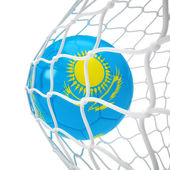 Kazakhstan soccer ball inside the net — Stock Photo