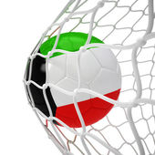 Kuwaiti soccer ball inside the net — Stock Photo