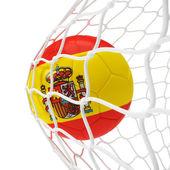 Spaanse voetbal binnen het net — Stockfoto