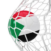 Sudanese soccer ball inside the net — Foto de Stock