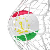 Tajikistan soccer ball inside the net — Stock Photo