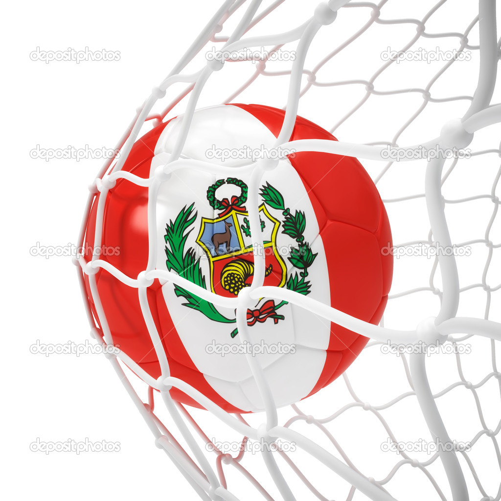 Peruvian soccer ball inside the net isolated on white — Stock Photo #9155686