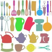 Colour Kitchen Objects — Stock Photo