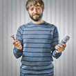 Young Man with Razors — Stock Photo