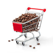 Shopping Cart Filled with Coffee Beans — Stock Photo