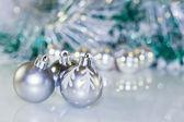 Christmas tinsel with ball — Stock Photo