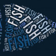 Fish shape graphic on blue background — Photo