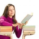 Beautiful girl with books — Stock Photo