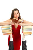 Beautiful girl with books — Stock Photo