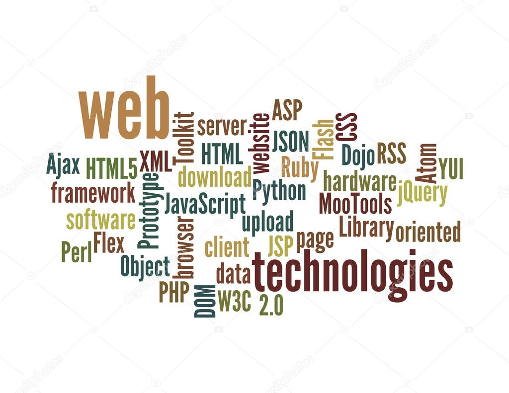Web technology word cloud isolated stock image