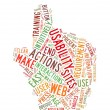 Web Usability word cloud hand shape — Stock Photo