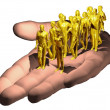 Human hand presents golden workforce — Stock Photo #10465520