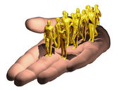 Human hand presents golden workforce — Stock Photo