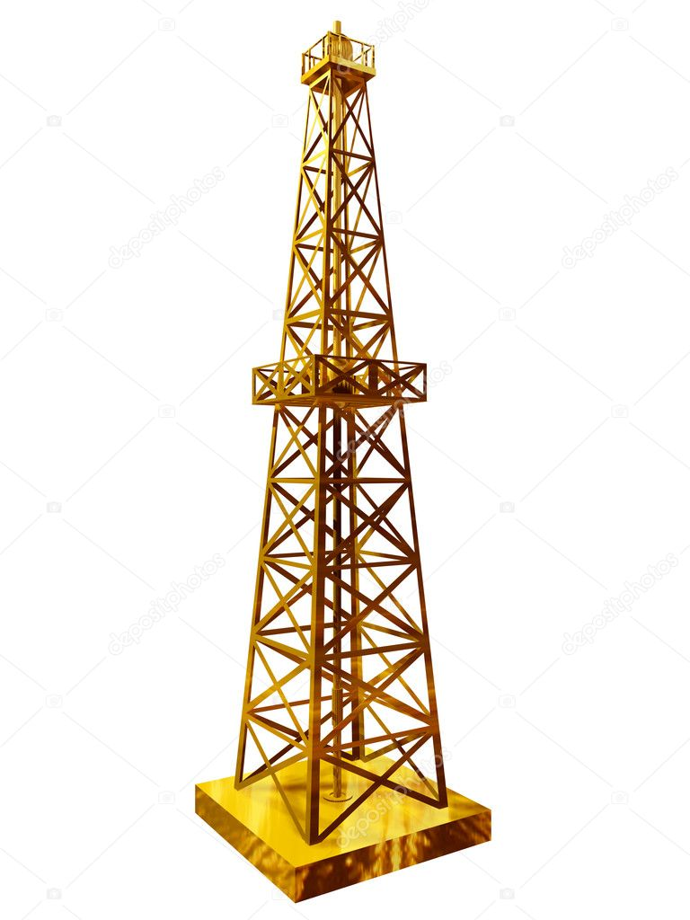 Golden drill tower or oil-well derrick — Stock Photo #10537830