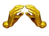Golden hand gesture — Stock Photo