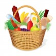 Picnic Hamper with Food - Stock Vector