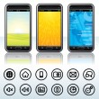Smartphone with Contour Icons — Stockvektor
